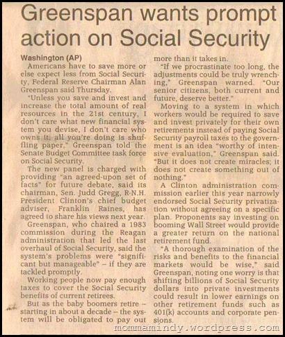 1997 Greenspan and Social Security