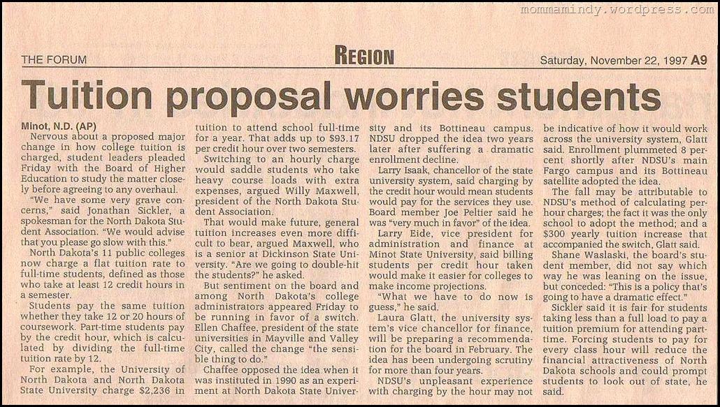 1997 Tuition Increase Concerns